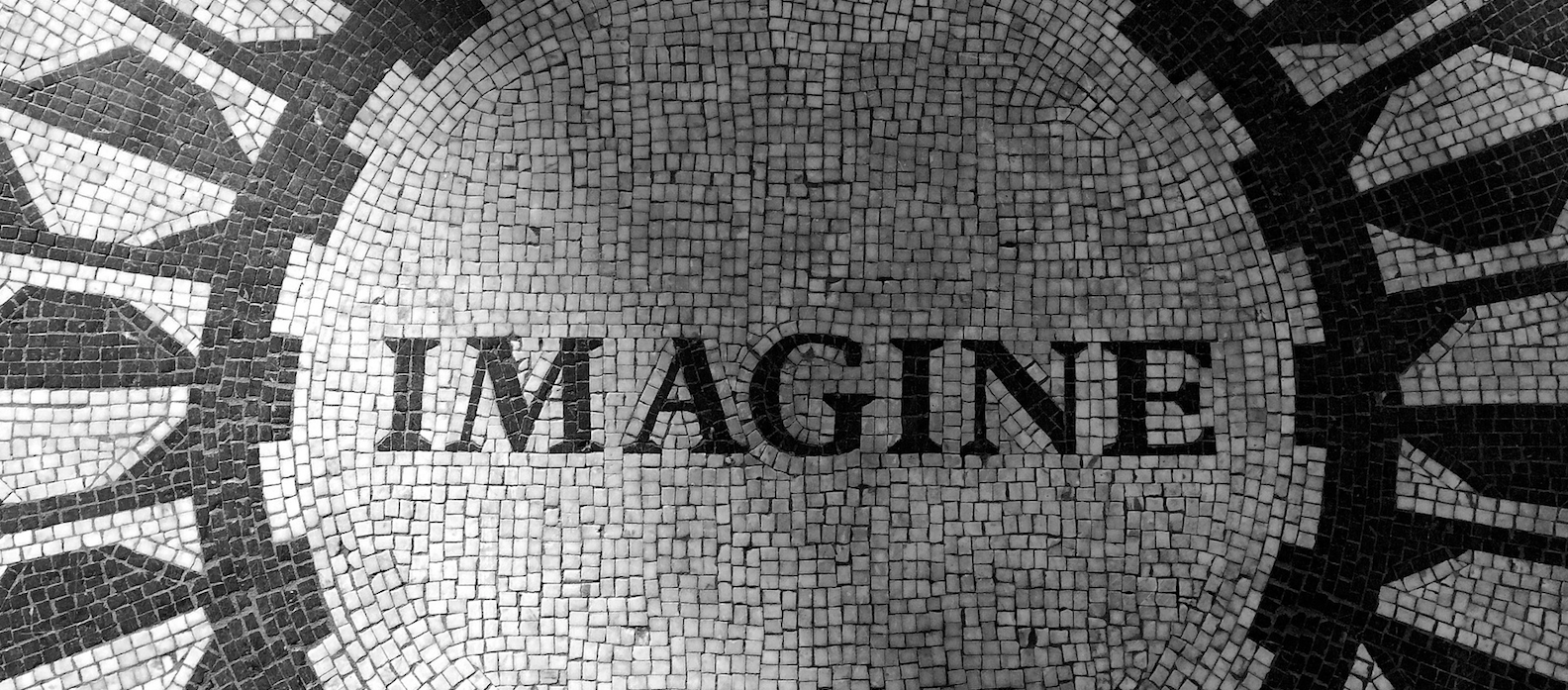 Tiled floor with word imagine