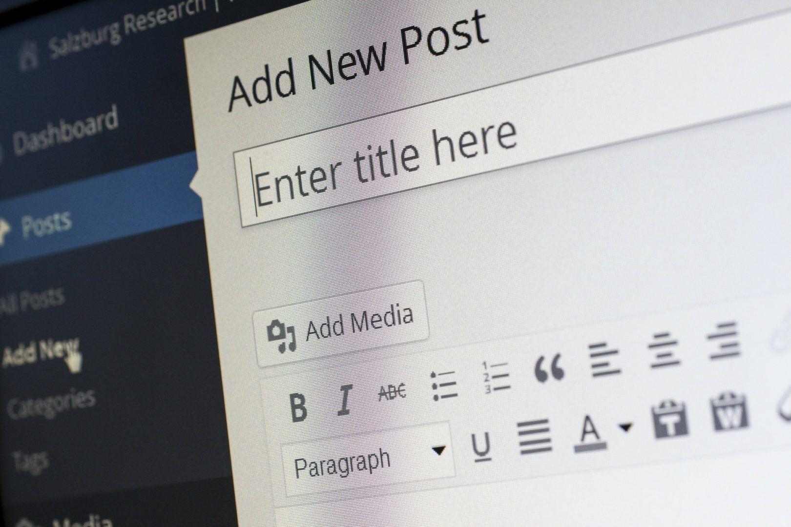wordpress dashboard new post