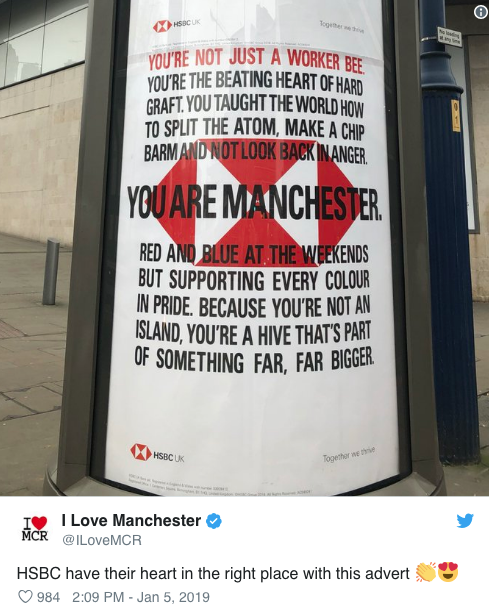 finest selection 818c2 3e91e HSBC Manchester Ad tweet by I heart Manchester