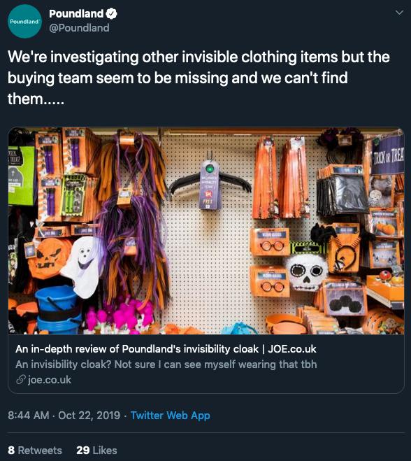 Poundland Halloween 2019 tweet